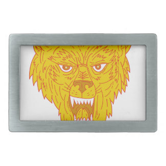 Angry Wolf Head Mono Line Rectangular Belt Buckles