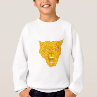 Angry Wolf Head Mono Line Sweatshirt