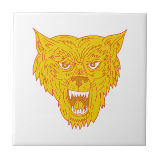 Angry Wolf Head Mono Line Tile