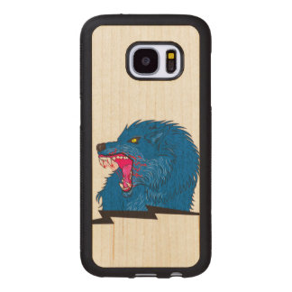 Angry Wolf Illustration Wood Samsung Galaxy S7 Case