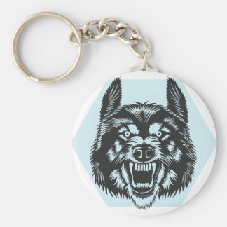 Angry wolf keychain