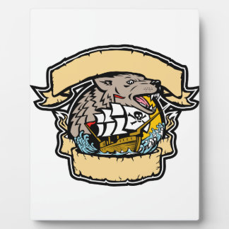 Angry Wolf Pirate Ship Banner Retro Plaque
