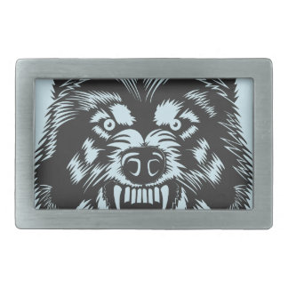 Angry wolf rectangular belt buckle