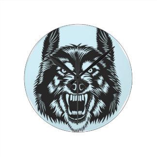 Angry wolf round clock