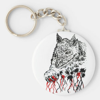 Angry Wolf Sketch2 Basic Round Button Keychain