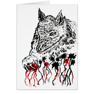 Angry Wolf Sketch2 Card