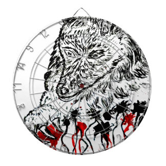 Angry Wolf Sketch2 Dartboard With Darts