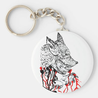 Angry Wolf Sketch Basic Round Button Keychain