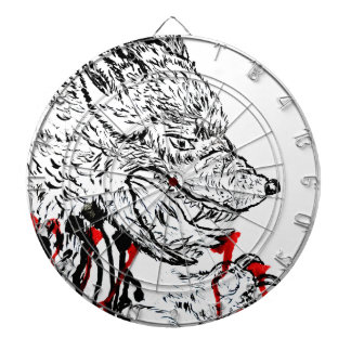 Angry Wolf Sketch Dartboard