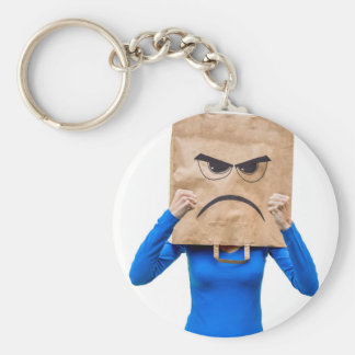 Angry woman showing fists basic round button keychain