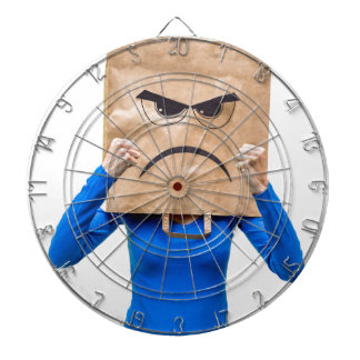 Angry woman showing fists dart boards
