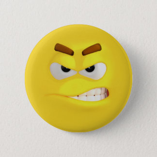 Angry Yellow 3D Effect Emoji 2 Inch Round Button