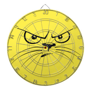 Angry Yellow Kitty Face Dart Boards