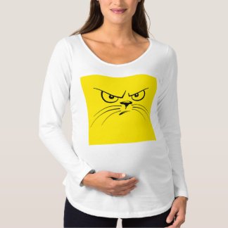 Angry Yellow Kitty Face Maternity T-Shirt
