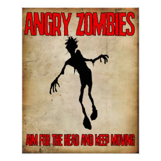 "'Angry Zombies"" poster Angry Johnny"