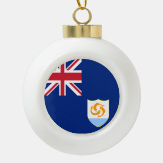 Anguilla Flag Ceramic Ball Christmas Ornament