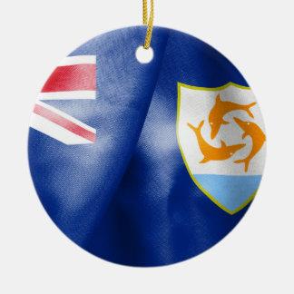 Anguilla Flag Round Ceramic Prnament Round Ceramic Ornament