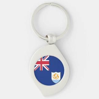 Anguilla Flag Silver-Colored Swirl Keychain