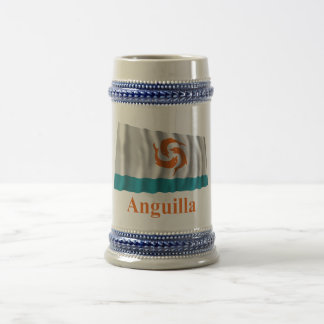 Anguilla Waving Local Flag with Name Beer Stein