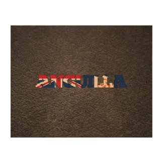 Anguillan name and flag cork paper prints