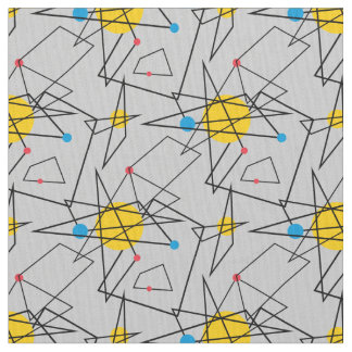 Angular Geometric Retro Pattern Fabric