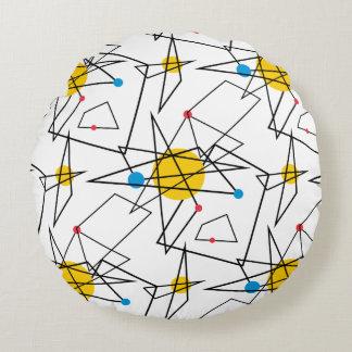 Angular Geometric Retro Pattern Round Pillow
