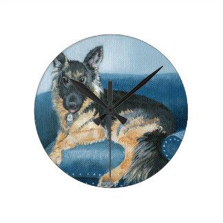 Angus the German Shepherd Round Clock