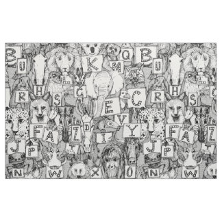 animal ABC black white Fabric