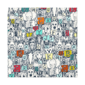 animal ABC indigo multi Canvas Print