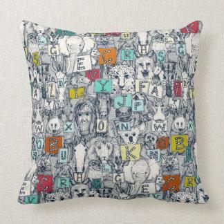 animal ABC indigo multi Throw Pillow