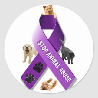 Animal Abuse Awareness Ribbon Classic Round Sticker