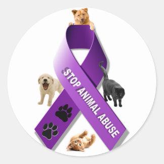 Animal Abuse Awareness Ribbon Round Sticker