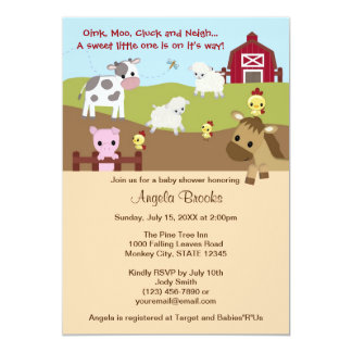 Animal Acres Farm Animal Baby Shower NEUTRAL AAK Card