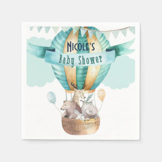 Animal Adventure Watercolor Boho Baby Shower Paper Napkin