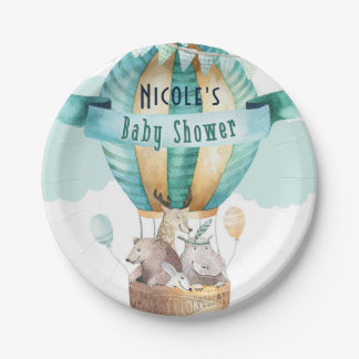 Animal Adventure Watercolor Boho Baby Shower Paper Plate