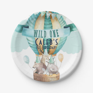 Animal Adventure Watercolor Boho WILD ONE 1 1st Paper Plate
