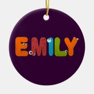 animal alphabet Emily Round Ceramic Ornament