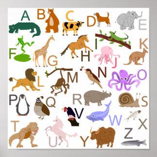 Animal alphabet for preschool Poster