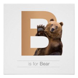 Animal Alphabet Nursery Wall Art. B - Bear Perfect Poster