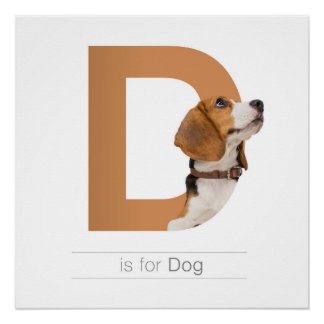 Animal Alphabet Nursery Wall Art. D is for Dog. Perfect Poster
