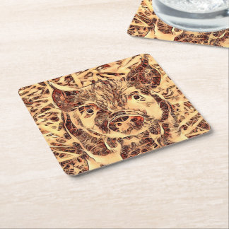 Animal ArtsStudio- amazing piglet Square Paper Coaster