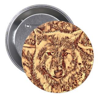 Animal ArtsStudio- amazing wolf 3 Inch Round Button
