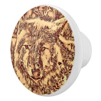 Animal ArtsStudio- amazing wolf Ceramic Knob