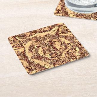 Animal ArtsStudio- amazing wolf Square Paper Coaster