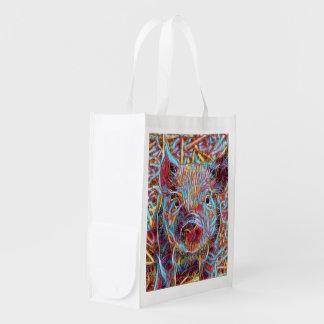 Animal ArtStudio- funky piglet Reusable Grocery Bag