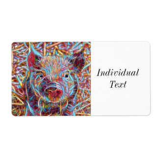 Animal ArtStudio- funky piglet Shipping Label