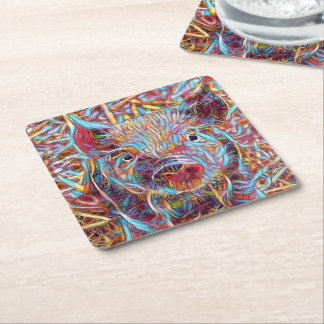 Animal ArtStudio- funky piglet Square Paper Coaster