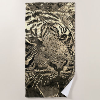 Animal ArtStudio The Tiger metal art Beach Towel