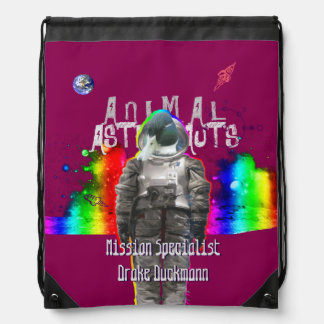 Animal Astronaut Duck in Rainbow Galaxy Drawstring Bag