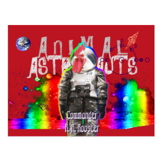 Animal Astronauts Rooster Postcard